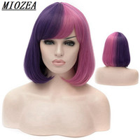 Wholesale Short Pink Wavy Wig - Short Wavy Synthetic Hair Women Wig High Temperature Fiber Purple Pink 12inch Long Cosplay Wig