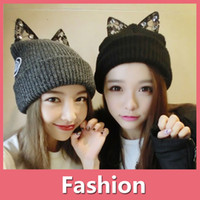 Wholesale oversized sun hats for sale - New Rihanna Girl Women Hat Cat Ear Trendy Warm Oversized Chunky Soft Oversized Cable Knit Slouchy Beanie Winter Cap DHL Free