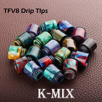 Wholesale Newest Colorful Drip Tips For E Cigs Epoxy Resin Drip Tip Mini Poland Wave Wide Bore Mouthpiece for Kennedy TFV8 RDA Vaporizer