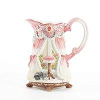 Wholesale European Style Porcelain - Lady's house water jar pink flower vase European porcelain vase european-style house cat water flowerer wedding ceremony