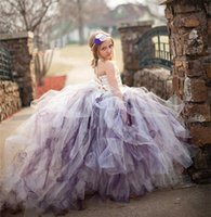 Wholesale Kids Performance Vest - Flower Girl Dresses 2017 Kid Ball Gown Pageant Summer Girl Dresses for Weddings Children Performance Clothing With Train Purple