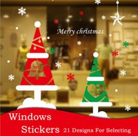 Wholesale Stick Mirror Decorations - Christmas decorations window glass Old Man Christmas stickers newest