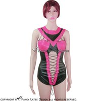 Rose Red With Black Trims Sexy costume da bagno in lattice con cerniera allacciatura sul retro Body Suit Catsuit tuta in gomma LTY-0052