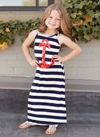 Wholesale Sailor Clothes For Girl - Summer Baby Girls Anchors Maxi Dresses Costume Sailor Sequin Striped Casual Dress For Kids Children Sleeveless Sling Clothes