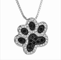 Wholesale Hot Dog Parties - 2017 Hot Black and White Crystal Enamel Dog Paw Pendant Necklaces 18inches free shipping Fashion Jewelry