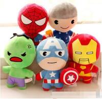 Wholesale Plush Batman - The avengers plush dolls toy superman spiderman batman toys super heroes avengers Alliance marvel the avengers dolls 2Q version free shippin