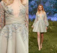 Paolo Sebastian 2017 breve vestiti da sera di ritorno a casa vestiti da party in applique da Juliet Illusion Long Sleeve Plus Size A Line Prom Dress