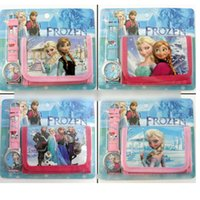 Wholesale Despicable Watches Wallet - Monster High Frozen Anna Elsa despicable me 2 in 1 Purse Wallet and watch sets kids children quartz boys girls Christmas gift watches