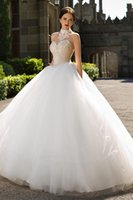 Wholesale Diamante Bridal Sashes - Vintage Organza Sheer Skirts Wedding Gowns 2016 Diamante Appliques Halter Neckline Lace Bridal Gowns Layered Nets Train A Line Wedding Gowns