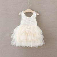 Wholesale Gauze Clothing Wholesale - Girls Summer Dresses Lace Gauze Princess Vest Dress Girl Party Sundress Layered Dress Children Clothing E16900
