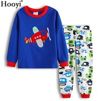 Wholesale planes shirts - Hooyi Plane Baby Boy Clothes Suits Children Pajamas Clothing Sets Fashion Boys Sleepwear Cotton T-Shirts + Trouser Home Clothes