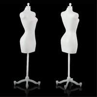 Wholesale Wholesale Doll Jewelry Display - White Black Color Cheap TOP 5PCS Display Gown Dress Clothes Rack Barbie Doll Mannequin Model Holder Stand Fashion