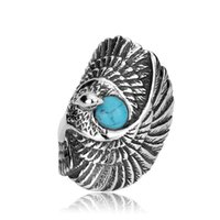 Wholesale Tribal Vintage Rings - Men's Vintage Gothic Tribal Biker Large Eagle with Turquoise Stainless Steel Ring Band Silver Black Blue