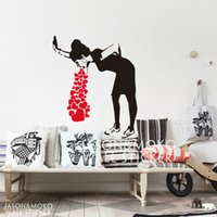 Wholesale Heart Decals - decoration art Banksy Style Lovesick Girl Woman Heart Love Cough Vinyl Wall Decal Sticker Mural Wallpaper Living Room Home Decor Art 80x95cm