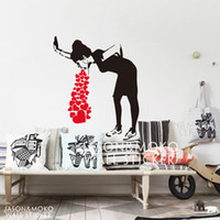 Wholesale wallpaper for cell phone Banksy Style Lovesick Girl Woman Heart Love Cough Vinyl Wall Decal Sticker Mural Wallpaper Living Room Home Decor