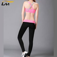 Wholesale Ladies Color Pink Yoga Pants - Wholesale-Fitness Workout Clothing Women's Gym Sport Yoga Set Suit  Lady Sexy Running Clothing for Women Yoga Top Vest+Pink Cycling Pant