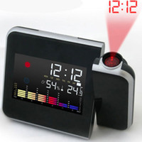 Wholesale Novelty Thermometers - Digital Time Projector LED Alarm Clock Weather Station Thermometer Novelty Gift