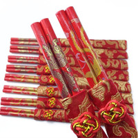 Wholesale Dragon Gift Bags - Classic Design Wood Chinese Red Chopsticks Double Happiness And Dragon Wedding Chopsticks Favor With Gift Bag ZA1343