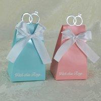 ingrosso incollare diamanti-Confezioni regalo Bomboniere di alta qualità Europea Blu Rosa e bianco Diamante decorativo Scatole regalo di lusso Artigianato regalo