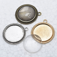 Wholesale Antique Cameo Glass - 50 sets lot antique silver filigree cameo cabochon 20x20mm base setting pendant blanks + clear glass cabochons