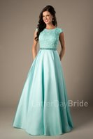 Wholesale Line Mint Green Prom Dress - Coral Satin Lace Long Modest Prom Dresses 2017 Cap Sleeves A-line Beaded Elegant Beaded Girls Formal Mint Evening Prom Party Dresses Cheap