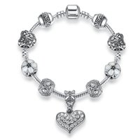 Wholesale Tibetan 925 - BELAWANG Luxury 925 Tibetan Silver Bead Crystal Heart Charm Bracelet Bangle Women Silver Plated Snake Chain Fashion Jewelry Free Shipping