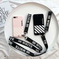 Wholesale Stripe Iphone - Luxury Soft TPU Cover white Stripe Shockproof Neck Hand Strap Anti-slip Geometry Letter back cover Case For Iphone 8 7 6S 6 Plus