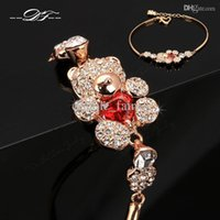 Wholesale Teddy Bear Jewelry Set - Cute Teddy Bear CZ Diamond Crystal Charm Bracelets & Bangles Wholesale 18K Gold Plated Fashion Jewelry For Women Imitation Crystal DFH157