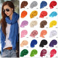 Wholesale Long Punk Rings - Free Shipping Promotion new pure linen fold super long big shawl women sexy fashion cheap multicolor punk scarf scarves wraps