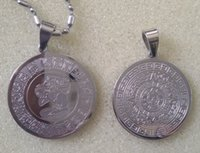 Wholesale Aztec Calendar Coin - American Mexico Fashion 316L Stainless Steel Mayan Coin Pendant, Mayan Prophecy Commemorative Coin Aztec Calendar Metal Pendant,Free Chain