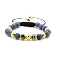 Wholesale Gold Pave Beads Balls - Mens Jewelry Wholesale 10pcs lot 8mm Natural Blue Veins Stone Beads & 9mm Micro Paved Black Cz Ball Macrame Bracelet