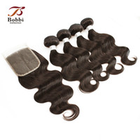 Wholesale Middle Part Lace Closure Remy - Color 4 Dark Brown Peruvian Body Wave Hair Weaves Straight 4 Bundles with Lace Closure Remy Human Hair Free Middle Three Part Closure