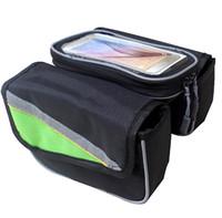 нейлоновый экран бесплатно оптовых-Горный велосипед красочные передней трубки сумки нейлон сенсорный экран телефона велосипед мешок 2.65 л бесплатная доставка