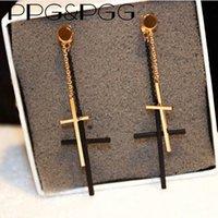Wholesale Gothic Cross Earrings Men - PPG&PGG Fashion Jewelry Long Chain Vintage Rock Punk Gothic Charm Cross Earrings Lovers Ear Stud Gift Men Women