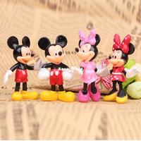 Wholesale Miniature Figures Set - 4pcs set Mickey Minnie Mouse Miniatures Dolls PVC Action Figures Cartoon Anime Figurines Kids Toys for Boys Girls