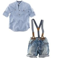 Wholesale Denim Overalls Sets - Retail one set 2016 summer children clothing sets boys shirt+denim overalls handsome 2pcs boy sets branded kids wears