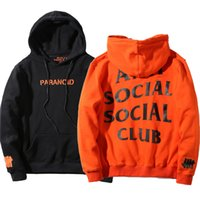 Wholesale Sweaters Hood Men - UNDFTD x AS SC Paranoi Exclusive Hoodie Black Orange Cotton Jersey Hood Sweatshirt Skateboards Sweater Tops YBG0824