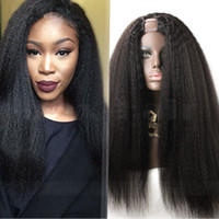 Wholesale Coarse Wigs - 180 Density Afro Kinky Straight Glueless U Part Human Hair Wig With Baby Hair 8A Coarse Yaki Side Upart Wigs For Black Women