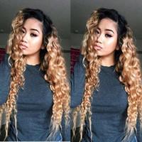 ombre curly hair оптовых-#1b / 27 Ombre цвет полный кружева человеческих волос парики 150 плотность вьющиеся кружева перед парики очаровательная блондинка полный кружева человеческих волос парики