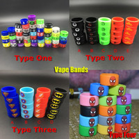 Wholesale Silicone Cigarette - E-cigs Vape Band Silicone Rings Colorful Decoration Protection Rubber Rings Deadpool Flash Hulk Batman Fit E Cigarette RDA Atomizers