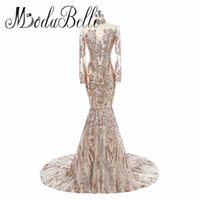 Wholesale Long Sleeves Maxi Dress Petite - New Fashion Long Sleeve Women Evening Dresses Long Sparkle V-Neck Elegant Sequin Mermaid Maxi Evening Party Gown Dress