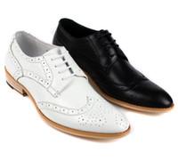 Wholesale Vintage Lace Cut Out Oxfords - vintage Fashion oxfords white mens wedding shoes casual genuine leather basic flats for men party