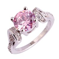 Wholesale pink topaz gold rings - Wholesale Fashion 925 Pink Topaz Gems Silver Ring Size 6 7 8 9 10 11 Women Party Jewelry Free Shipping