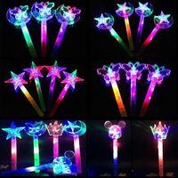 Wholesale Glow Lighting - Novelty LED Toys Magic Wand Led Lighting Toys Flashing Glowing Light Up Wands Luminous Toys Flashing Star Sun Butterfly