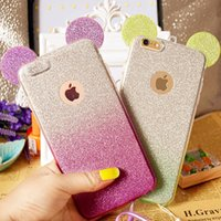 Wholesale Iphone 4s Case Silicone Glitter - 3D Minnie Mickey Mouse Ears silicone Glitter Gradient Case for iPhone 4 4S 5 5S 6 6S 6Plus Case Cover with Hang rope phone cases