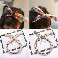 Wholesale Cloth Flower Hair Accessories - 2017 high-quality children's hair accessories, baby cross hair band, adjustable cloth rabbit ears flower ball hair band hoop