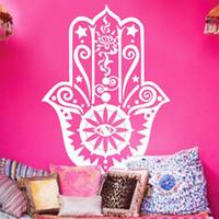 Wholesale Wall Stickers Yoga - Art New Design Home Wall Stickers Vinyl Decals Yoga Fatima Hand Hamsa Buddha Mural Arabian Lucky Room