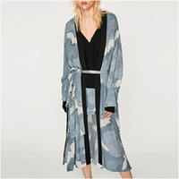 Wholesale Elegant Cardigan Women - NYMPH Cranes Printed Bow Lace Up Floral Kimono Long Sleeve Ladies Kimono Cardigan Woman Elegant Beach 2017 New Autumn Women Tops