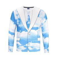 yuvarlak boyun yaka gömlek toptan satış-Sahte Iki Adet 3D Mavi Gökyüzü Baskılı Gömlek Erkekler Için Uzun Kollu T-shirt Yuvarlak O Boyun Yaka Sonbahar Üstleri Tee BL-104