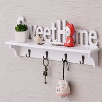 Wholesale DIY hollow wood Sweet Home wall shelf with hooks white coat hat clothes storage rack key holder organizer home decor